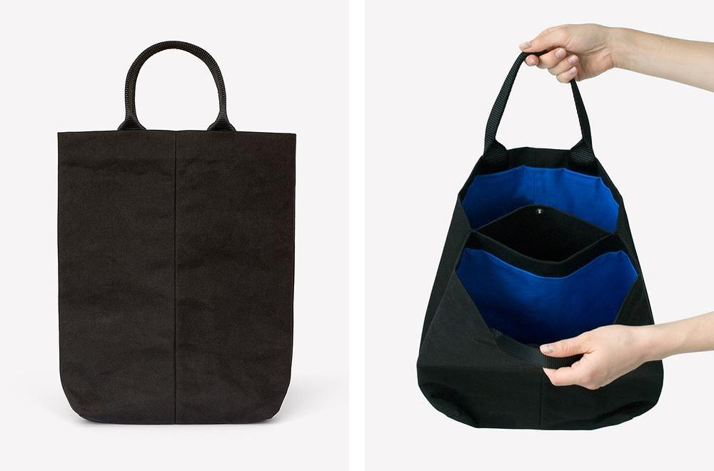 26cbb3d251d canvas handbag with blue lining B15.04 two big pockets and one extra small  pocket inside, nylon handels h39 x w25 x d6 cm. Photo: Giene Steenman